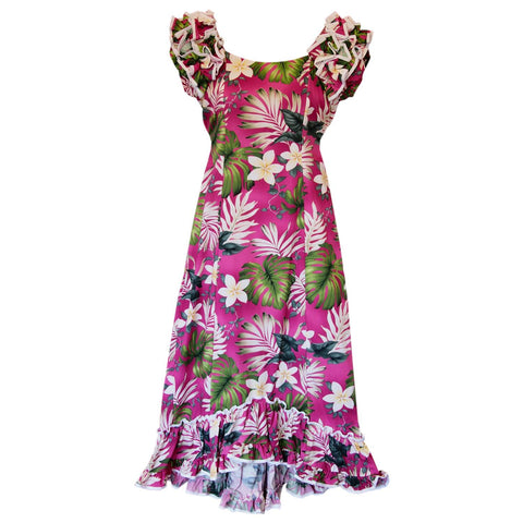 Delight Pink Short Hawaiian Skinny Strap Floral Dress