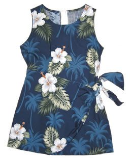 Hilo Blue Hawaiian Girl's Sarong Floral Dress - PapayaSun