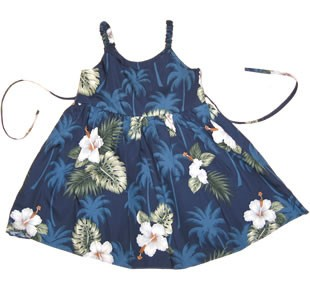 Hilo Blue Hawaiian Girl's Sarong Floral Dress