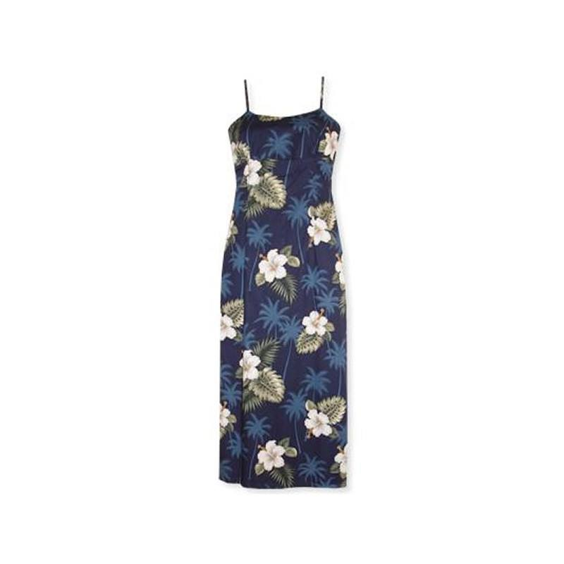 Hilo Blue Long Hawaiian Skinny Strap Floral Dress - PapayaSun