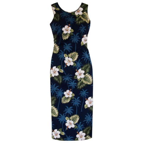 Hilo Blue Long Hawaiian Skinny Strap Floral Dress