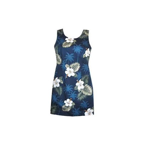 Parrot-Dise White Short Hawaiian Tank Floral Dress