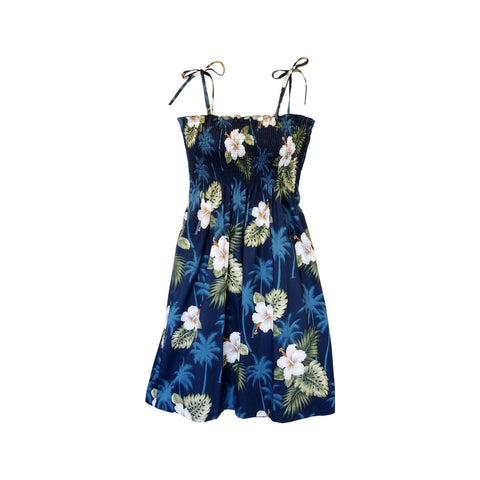 Hilo Blue Short Hawaiian Sarong Floral Dress