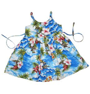 Lagoon Blue Hawaiian Girl's Sundress with Elastic Straps - PapayaSun