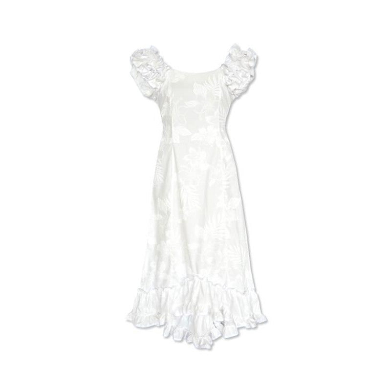 Lanikai White Hawaiian Meaaloha Muumuu Dress with Sleeves - PapayaSun