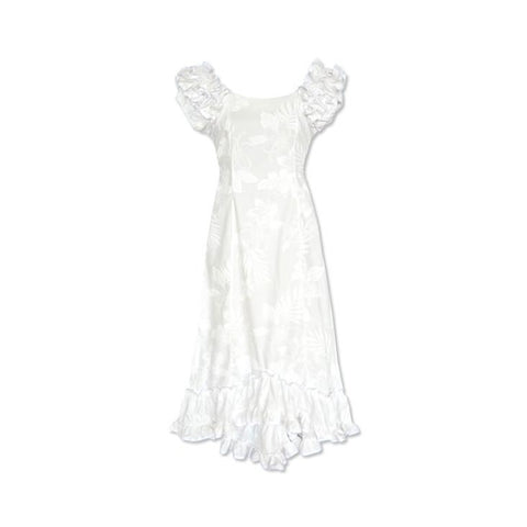 Waikiki White Hawaiian Meaaloha Muumuu Dress with Sleeves