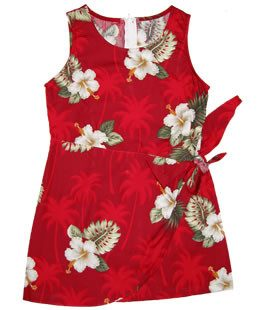 Delight Green Hawaiian Girl's Sundress with Elastic Straps