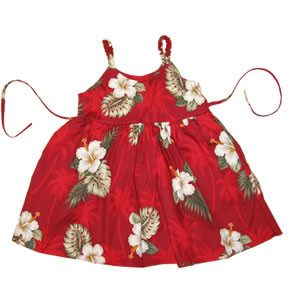 Lava Red Hawaiian Girl's Sundress with Elastic Straps - PapayaSun