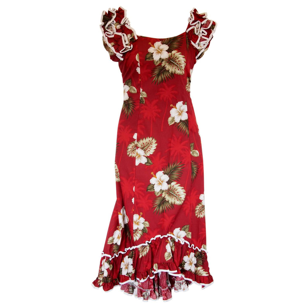 Lava Red Hawaiian Meaaloha Muumuu Dress with Sleeves - PapayaSun