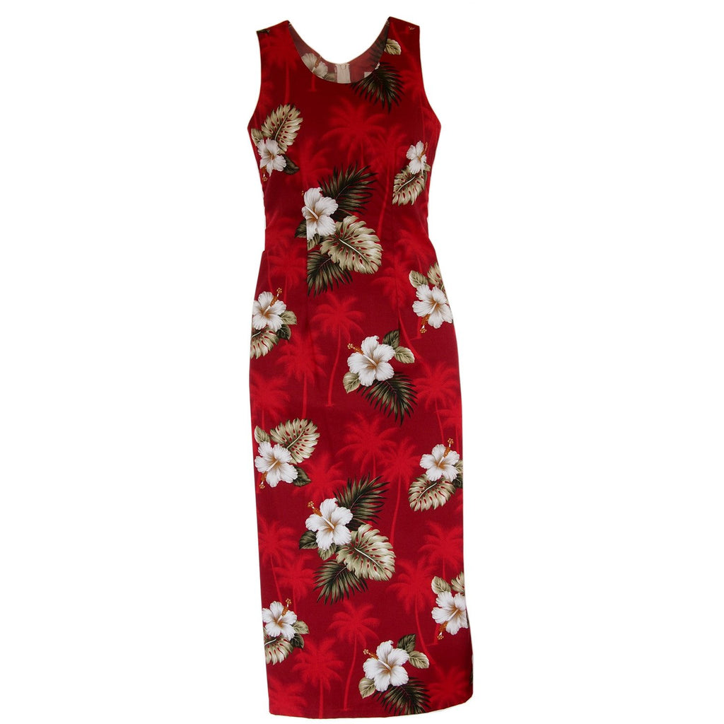 Lava Red Long Hawaiian Tank Dress - PapayaSun