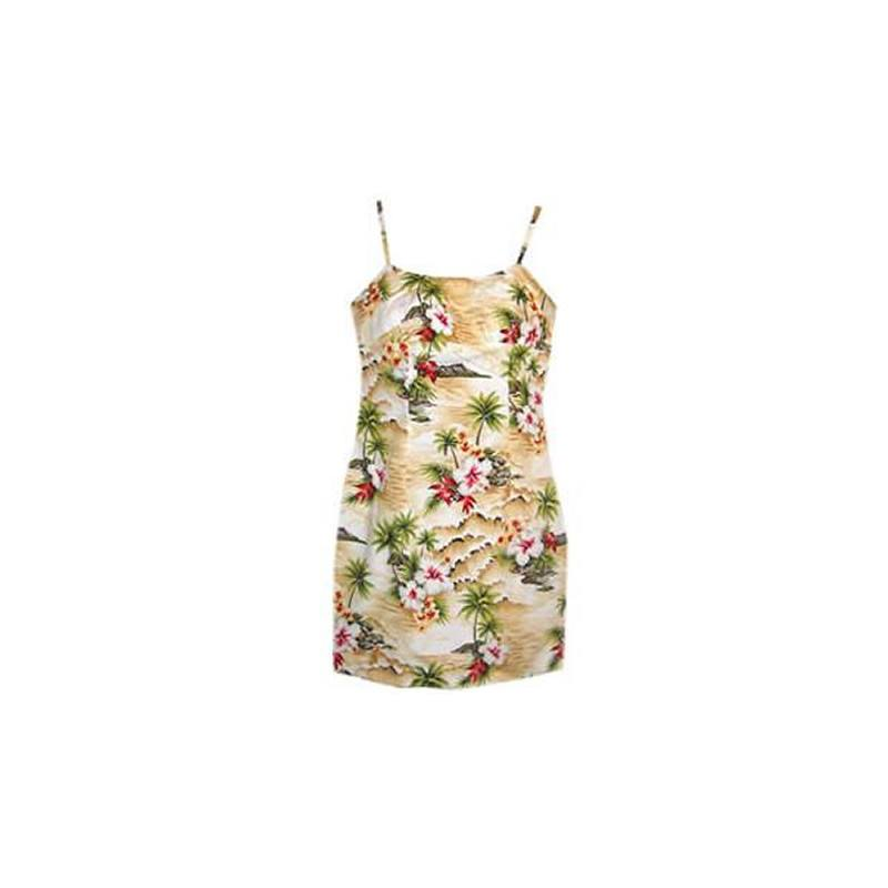 Maize Cream Short Hawaiian Skinny Strap Floral Dress - PapayaSun