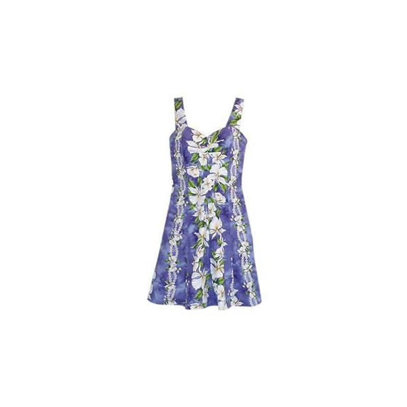 Orchid Purple Short Hawaiian Floral Sundress - PapayaSun
