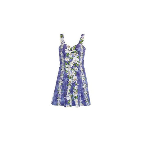 Lagoon Blue Short Hawaiian Skinny Strap Floral Dress