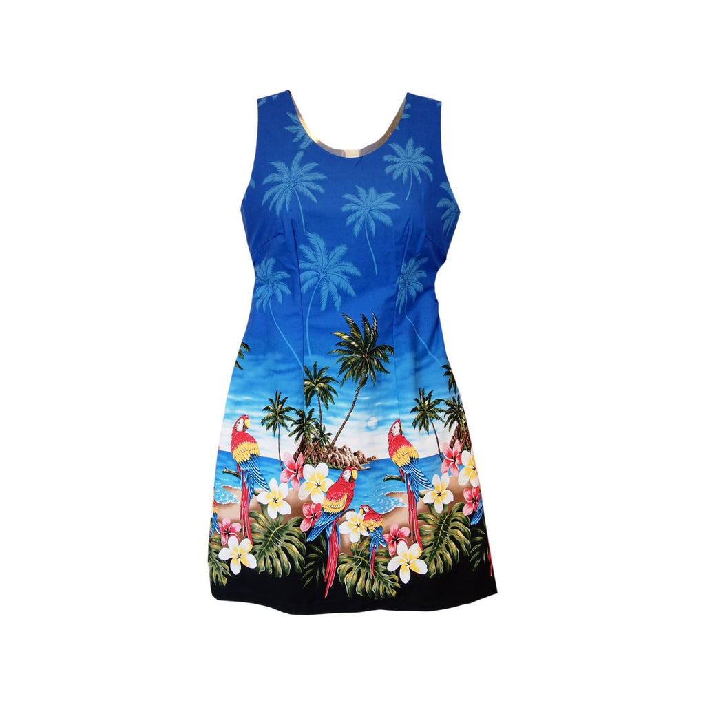 Parrot-Dise Blue Short Hawaiian Tank Floral Dress - PapayaSun