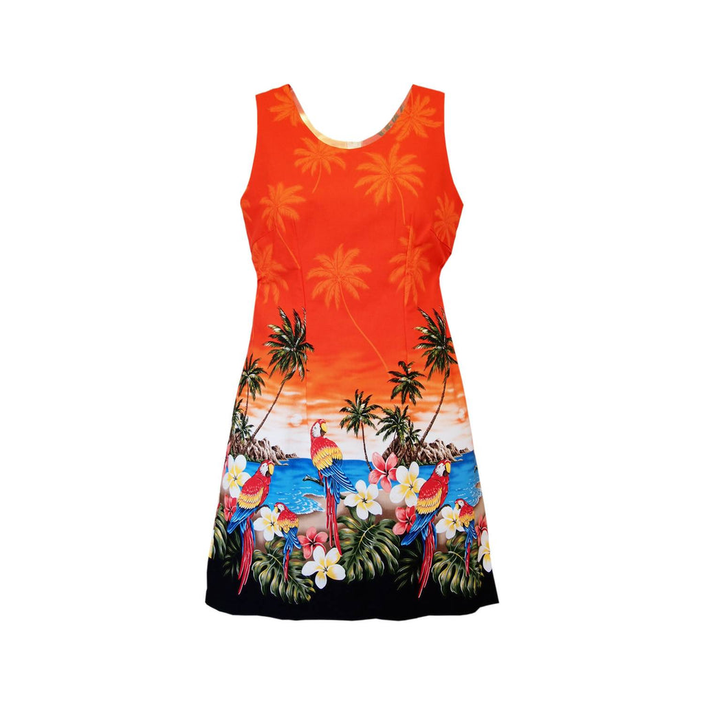 Parrot-Dise Orange Short Hawaiian Tank Floral Dress - PapayaSun