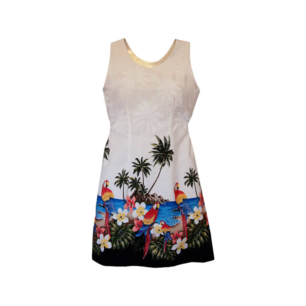 Parrot-Dise White Short Hawaiian Tank Floral Dress - PapayaSun