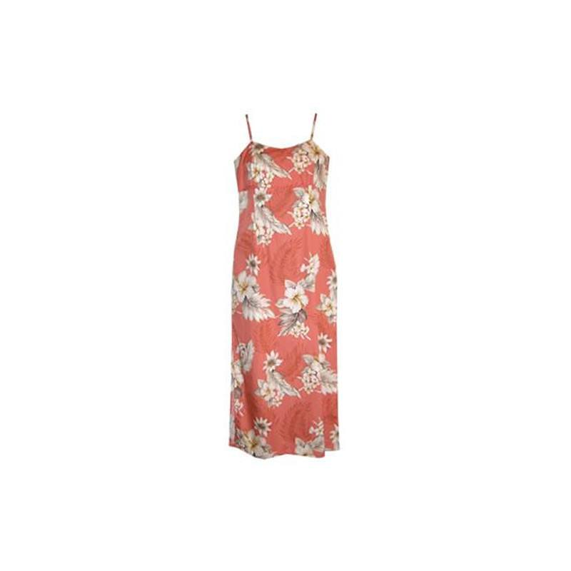 Petal Pink Long Hawaiian Skinny Strap Floral Dress - PapayaSun
