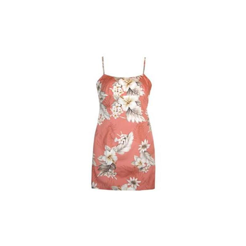Petal Pink Short Hawaiian Skinny Strap Floral Dress - PapayaSun