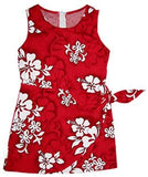 Seastar Red Hawaiian Girl's Sarong Floral Dress - PapayaSun