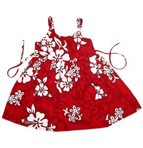 Seastar Red Hawaiian Girl's Sundress with Elastic Straps - PapayaSun