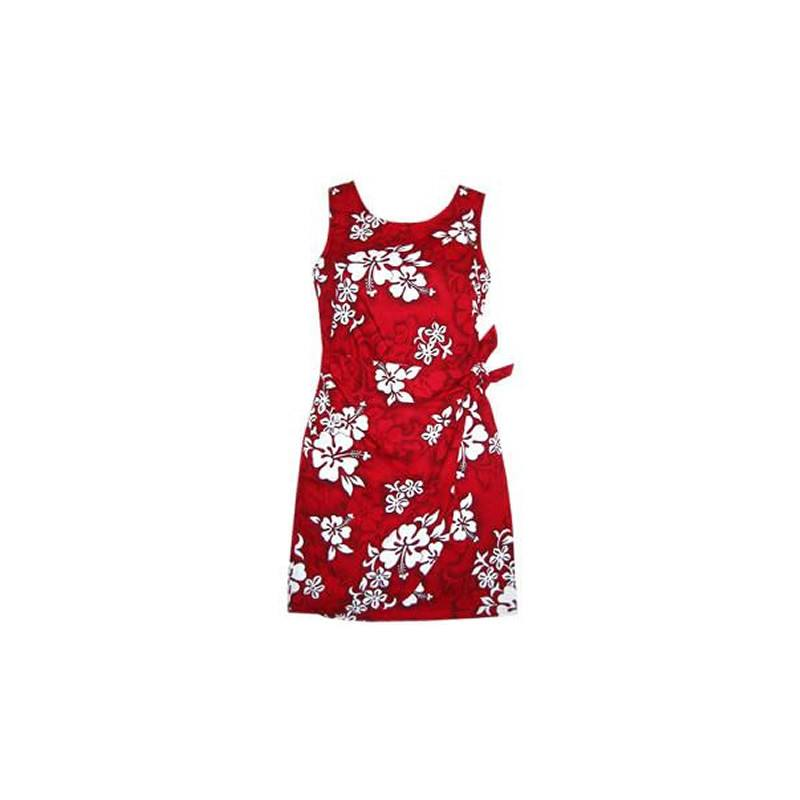 Seastar Red Short Hawaiian Sarong Floral Dress - PapayaSun