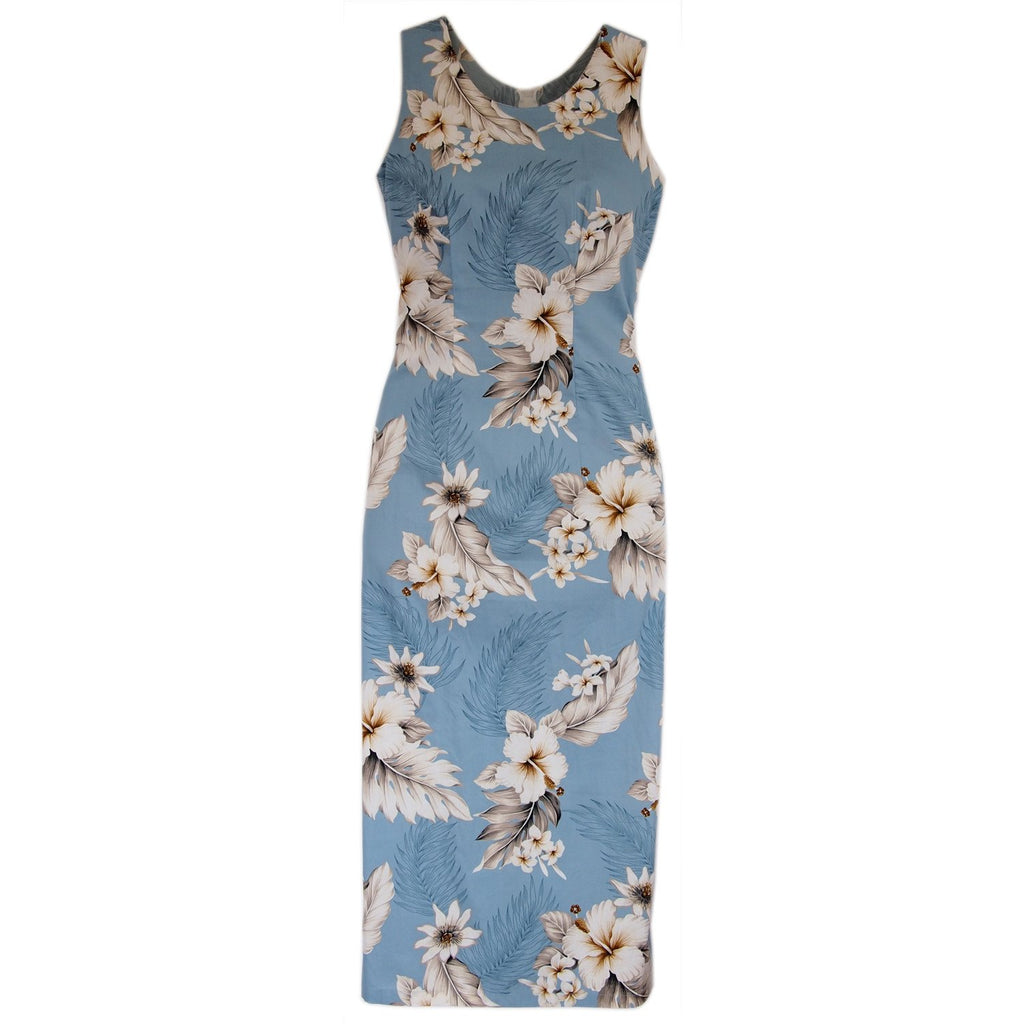 Sky Blue Long Hawaiian Tank Dress - PapayaSun