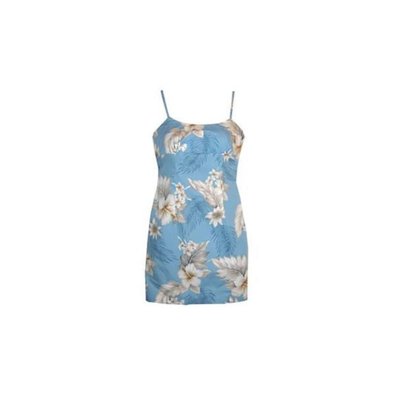 Sky Blue Short Hawaiian Skinny Strap Floral Dress - PapayaSun
