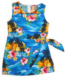 Skyburst Blue Hawaiian Girl's Sarong Floral Dress - PapayaSun