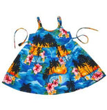 Skyburst Blue Hawaiian Girl's Sundress with Elastic Straps - PapayaSun