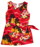 Sunburst Red Hawaiian Girl's Sarong Floral Dress - PapayaSun