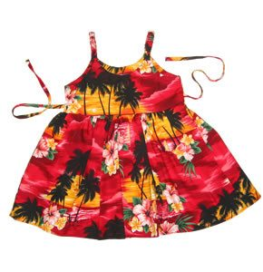 Sunburst Red Hawaiian Girl's Sundress with Elastic Straps - PapayaSun