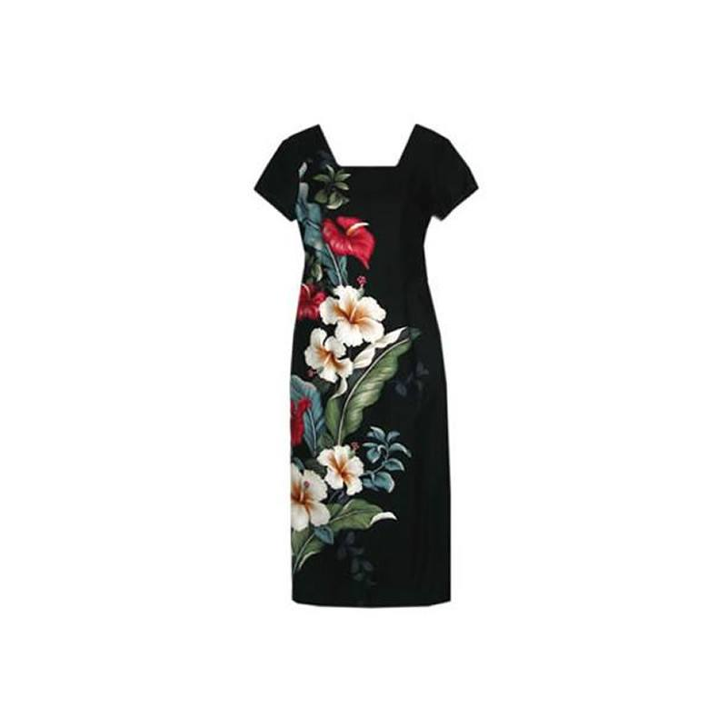Sweetheart Black Long Hawaiian Dress with Sleeves - PapayaSun