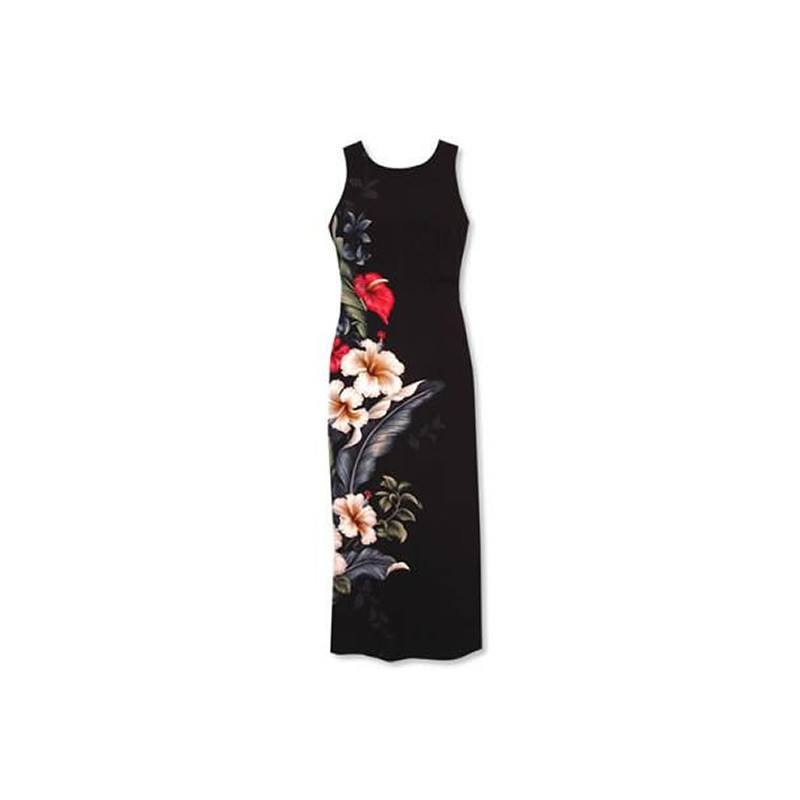 Sweetheart Black Long Hawaiian Tank Dress - PapayaSun