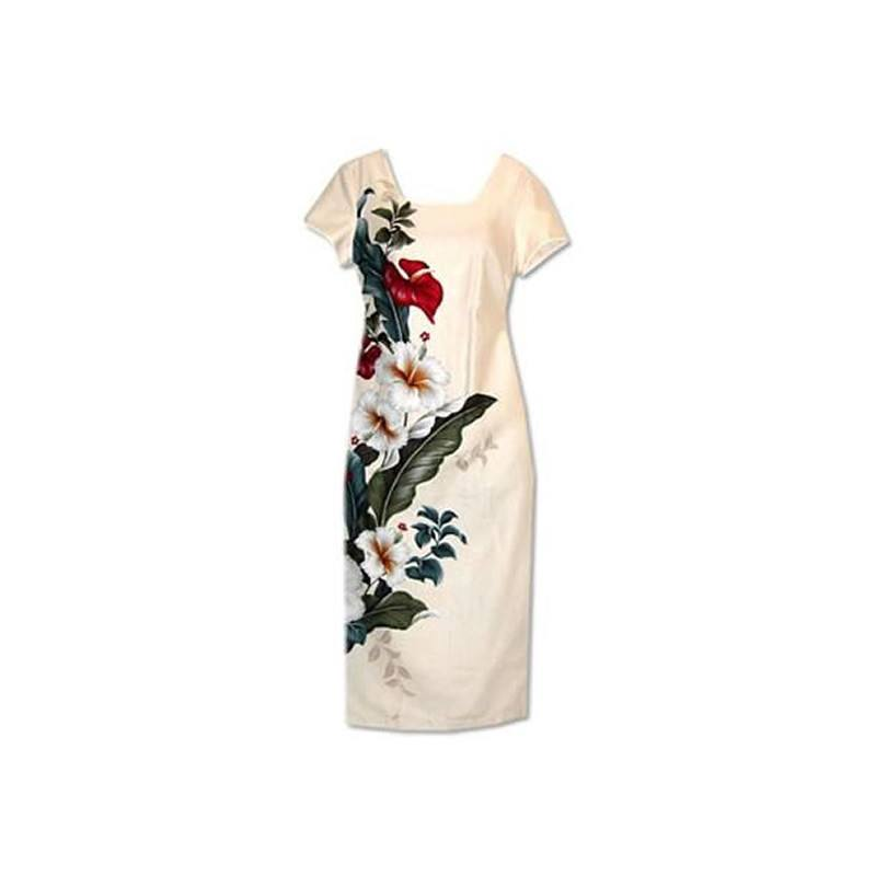 Sweetheart Cream Long Hawaiian Dress with Sleeves - PapayaSun