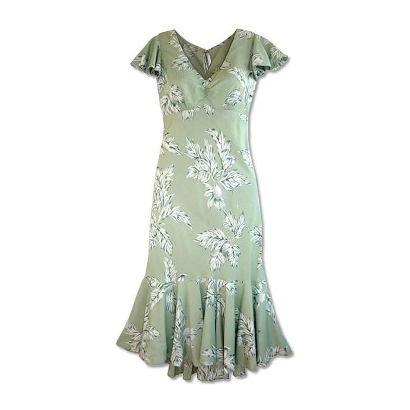 Ulu Green Hawaiian Pauahi Dress with Sleeves - PapayaSun