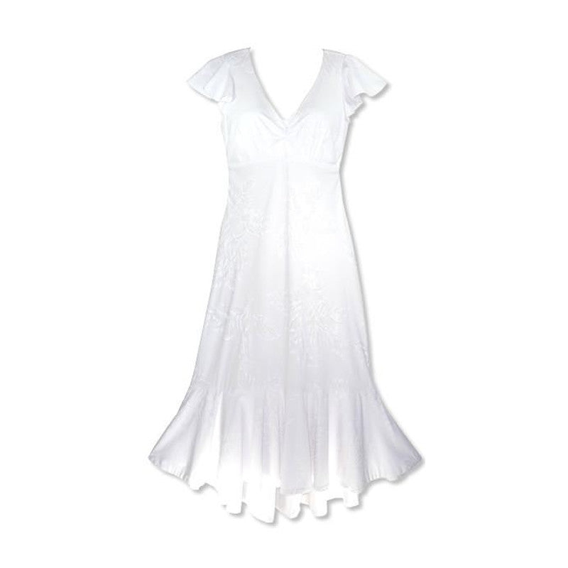 Ulu White Hawaiian Pauahi Wedding Dress with Sleeves - PapayaSun