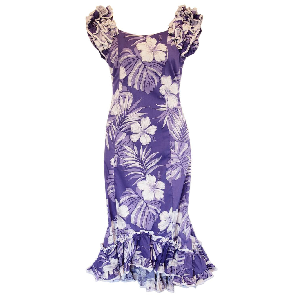 Waikiki Purple Hawaiian Meaaloha Muumuu Dress with Sleeves - PapayaSun