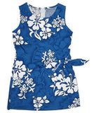 Waves Blue Hawaiian Girl's Sarong Floral Dress - PapayaSun