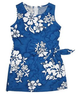 Hilo Blue Hawaiian Girl's Sundress with Elastic Straps