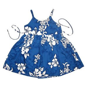 Waves Blue Hawaiian Girl's Sundress with Elastic Straps - PapayaSun