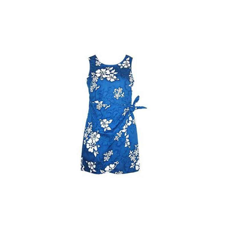 Waves Blue Short Hawaiian Sarong Floral Dress - PapayaSun