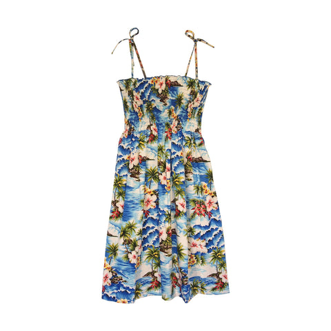 Delight Green Short Hawaiian Skinny Strap Floral Dress