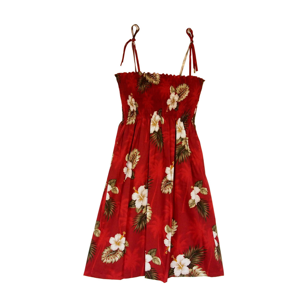 Lava Red Short Hawaiian Smocked Sundress - PapayaSun