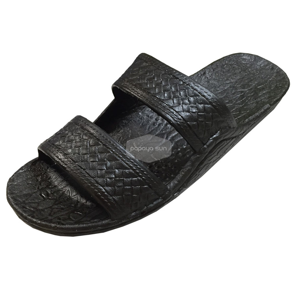 "Classic Black ""Hawaiian Jandals"" Pali Hawaii Jesus Sandals - PapayaSun"