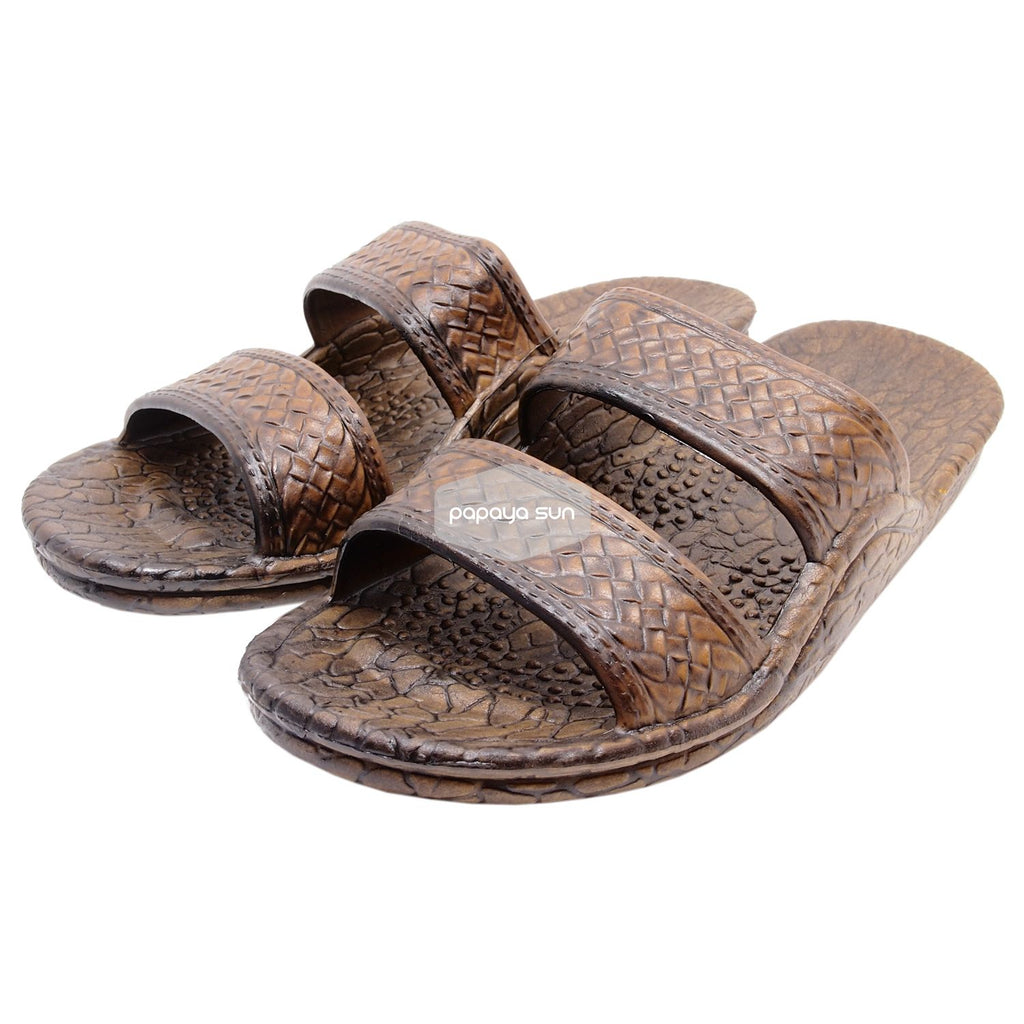 "Classic Dark Brown ""Hawaiian Jandals"" Pali Hawaii Jesus Sandals - PapayaSun"