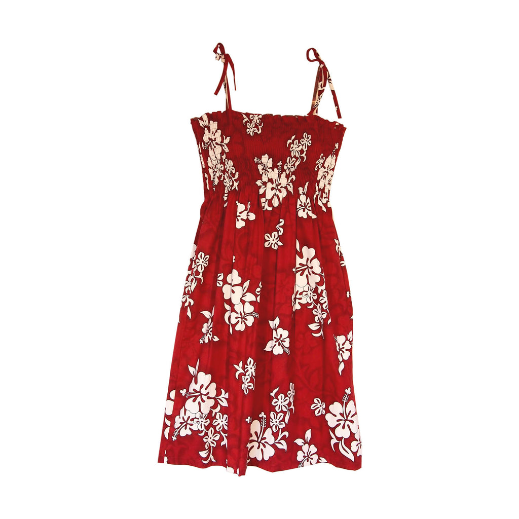 Seastar Red Short Hawaiian Smocked Sundress - PapayaSun