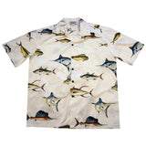 Amazing Fishing White Cotton Hawaiian Shirt