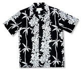 Bamboo Panel Black Hawaiian Rayon Aloha Camp Shirt - PapayaSun