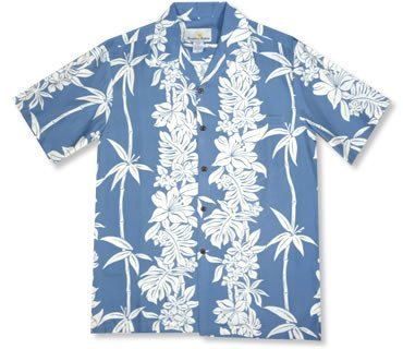 Bamboo Panel Blue Hawaiian Rayon Aloha Camp Shirt - PapayaSun
