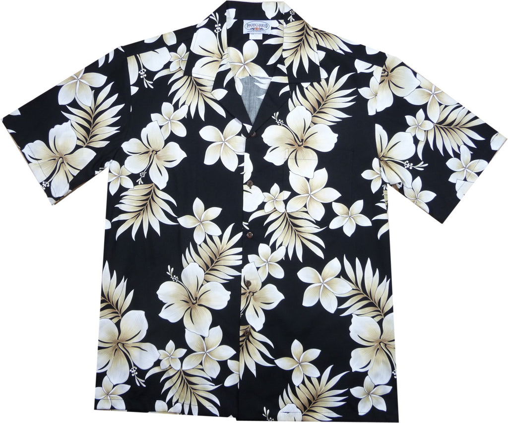 Beachcomber Black Hawaiian Cotton Aloha Sport Shirt - PapayaSun